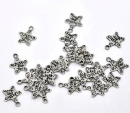 10 x Antique Silver Just For You Star Charm Pendants
